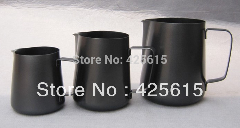 Non-stick coating Hairline black 350ml teflon milk pitcher for frothing milk(China (Mainland))