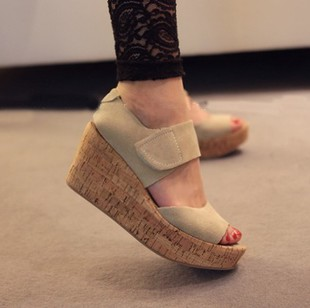 2013 wedges sandals nubuck leather shoes platform genuine leather high-heeled sandals open toe shoe women's shoes freeship(China (Mainland))