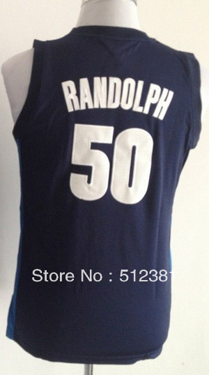 Free Shipping!!! #50 Zach Randolph Youth Kids navy blue jersey Embroidered logo( all name, numbers stitched )(China (Mainland))