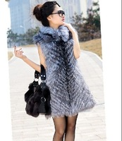 2014 New Hot Sale! Women Genuine Silver Fox Fur Coats Vests Natural Fox Fur Gilets Waistcoats Customize Fashion Outerwear