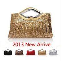 Aluminum 2013 fashion pleated paillette women's handbag bridal bag day clutch evening bag banquet bag