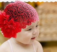 NEWBORN BABY TODDLER GIRLS HEADBAND HAT BEANIE FLOWER Hair BAND LACE ELASTIC NEW [04070147 ]