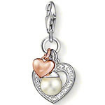 Hollow out plating Розовый Золото and pearl love heart pendant charms (1.3x1.1cm) ...