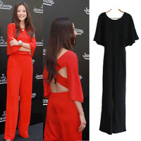 Sexy Chic Women Sexy Back Cross Wide-leg Loose Pants Black/Red  Super Star Batwing Cocktail Long Jumpsuit free shipping A1016