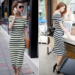 2013 New Arrive Fashion Women's Off Shoulder Sexy Cotton Stripe Casual Slip Straight Long Fit Dress Size S Free Shipping 0820(China (Mainland))