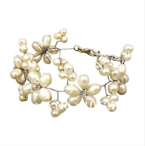 New Free Shipping Pearl Jewellery 4-9mm White Color Freshwater Pearl Crystal Beads Bracelet 8&#39;&#39; Fashion Jewelry Wholesale(China (Mainland))