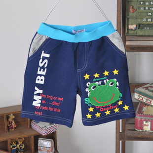 2013 retail fashion Summer boys girls shorts frog cartoon casual shorts 100% cotton capris baby shorts with 7 sizes(China (Mainland))