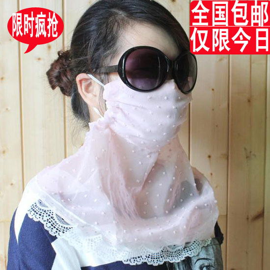 Summer chiffon outdoor uv sunscreen face masks ultralarge neck plus size uv lace mask female(China (Mainland))
