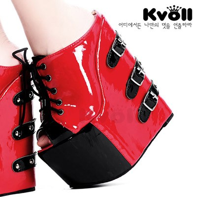 Kvoll japanned leather red fashion lacing color block ultra high heels open toe platform wedges slippers female shoes(China (Mainland))