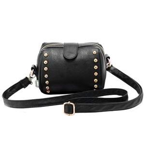 Free shipping tide beauty bag hot new mini soft surface rivets female bag female bag shoulder diagonal packet black(China (Mainland))