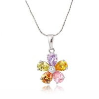 Luxury Ladies' Flower Shaped Platinum Plated & 5.8 CT Brilliant Cut Grade AAA Colored Cubic Zircon Diamond Pendant (1207)