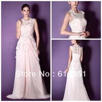Gorgeous Lace A-line Jewel Neckline Floor-length Court Train Taline's Wedding Dress  JY1117