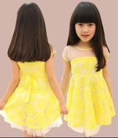 2013 new arrivals girls summer lace dresses yellow sunflower kids sundress big girl dresses child dress for girls wholesale 5PCS