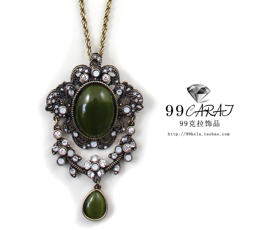 Free shipping sumni vintage royal green - eye sparkling necklace ib(China (Mainland))