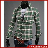 Wholesale men's spring autumn casual plaid shirts,man's 16 colors long-sleeved cotton shirt Asia size S-XXL C411
