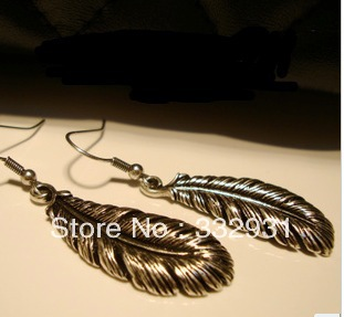 The delicate Tibetan silver feather earrings European and American fashion jewelry female models Free shipping(China (Mainland))