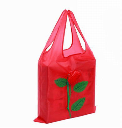 cheap price mix 9 colors rose shopping bag high quality flower women convenient folding bags(China (Mainland))