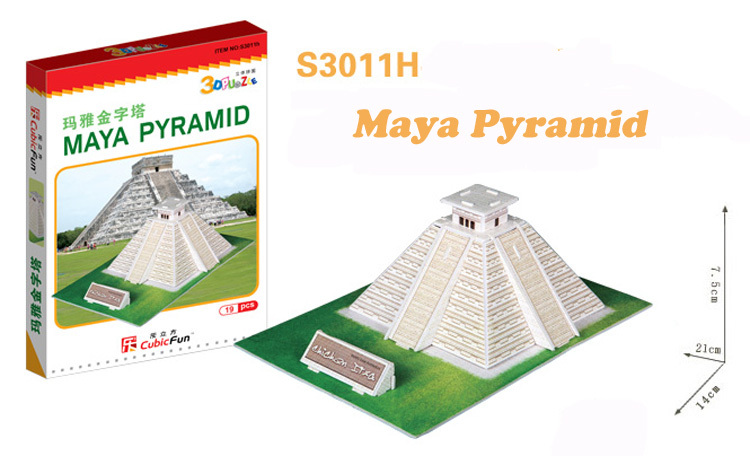 Maya Pyramid cubic fun S3011H 19pcs 3D Puzzle Famous buildings paper model DIY Educational toys for kids free shipping(China (Mainland))