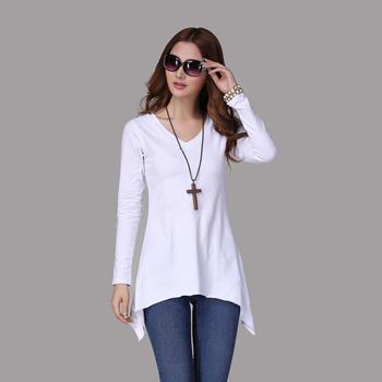 2013 spring and autumn women's V-neck lengthbreadth loose irregular sweep basic T-shirt long-sleeve shirt