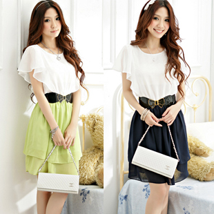2013 spring and summer new arrival elegant short-sleeve slim one-piece dress ruffled pleated sleeve summer chiffon shirt skirt