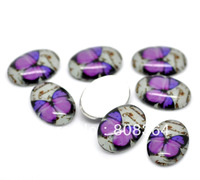 Free Shipping 30 Pcs Purple Butterfly Pattern Oval Glass Cabochons Embellishments 18x13mm(W02334 X 1)