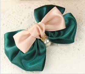 Min.order is $10 (mix order)Korean headdress ribbon bow pearl pendant double hairpin