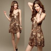 2013 Frees shipping summer sexy lady fashion deep V-neck leopard print spaghetti strap dress  FCD-060
