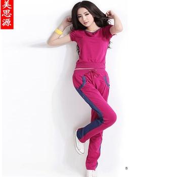 2012 women's short-sleeve sweatshirt cotton block color decoration casual sports set g2801  IVU