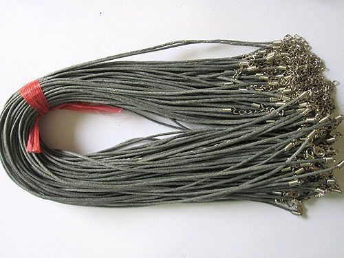 SALES PROMOTION!!! Free Shipping 2.0mm 100pcs Waxed Cotton Cord Necklace with Clasp Lobster(China (Mainland))