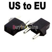 2Pcs/lot US to EU AC Power Plug Travel Converter Adapter  [969|01|02]