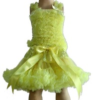 Beautiful girl's pettiskirt,dance tutu,princess skirt ,yellow chiffon top+yellow skirt ,5sets/lot