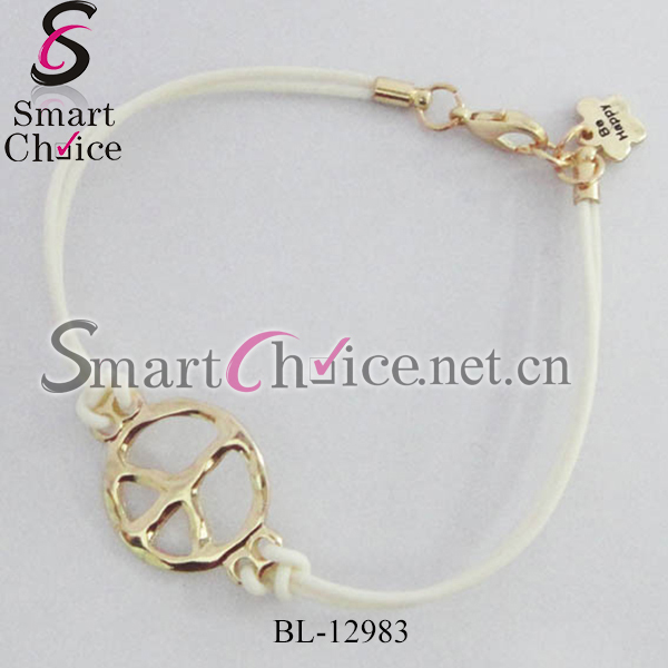 Mini order is $15 Fashion peaceful sign white leather bracelets Free Shipping(China (Mainland))