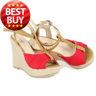 2013 fish head sandals elegant field beach wind slope with high-heeled shoes(China (Mainland))