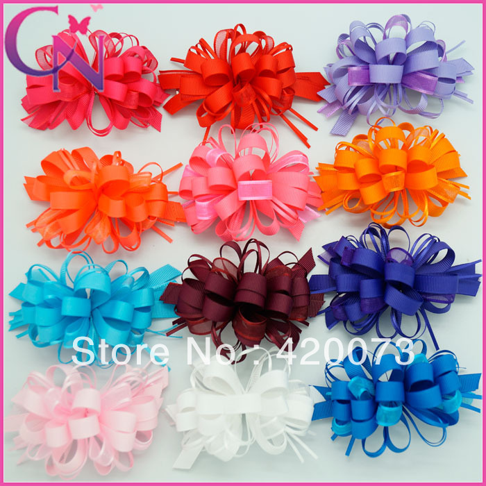 fashion high quality hair bow for women 40 piece/lot boutique solid ribbon hair clips low price for wholesale CNHBW-13052001(China (Mainland))
