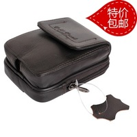 Free shipping  casual genuine leather male mobile phone waist pack strap bags leather cigarette bag