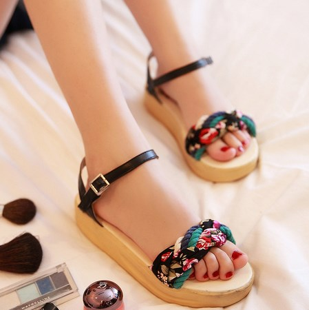 Free shipping summer shoes for women 2013 Open toe women platform sandals bohemia sweet casual dress flat floral print shoes(China (Mainland))