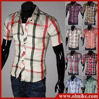 Big discount Men's summer short sleeve 16 colors plaid Casual Shirts for man comfortable cotton shirt Asia S-XXL C412