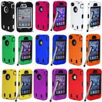 2pcs Rugged Rubber Matte soft rubber silicone skin case for iPhone 4 4s 4g 4gs  Screen Skin+Pen Cloth 10 colors for choose