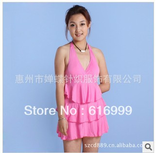 2013 from new arrival fashion jumpsuits ice cream type swimsuit conjoined 3 layer skirt swimsuit wholesale free shipping(China (Mainland))
