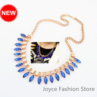 Min Order $10,2013 Statement Chunky Choker Necklace,Charms Gold Plated Chian with Gem Stone Necklace Necklaces,N99