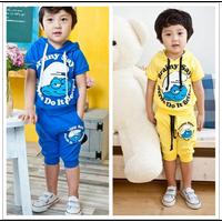 2013 child set boys clothing girls clothing twinset short-sleeve T-shirt trousers