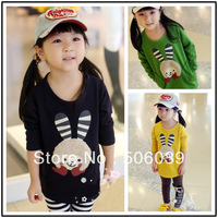 13 female child 100% loop pile cotton sweatshirt outerwear cartoon girl print long-sleeve