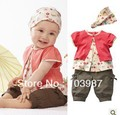 2013 3 pcs/set Hot models pink top+brown short pants + headband/ Baby wear/Baby girl suit/Free shipping