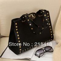 2013 women's handbag with rivet  PU leather lady fashion shoulderbag studded handbag  high quality hot selling free shipping