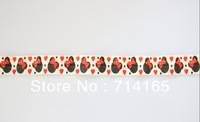 Free shipping 5/8'' Black White Red Mouse Hearts FOE elastic,stretch fold over elastic