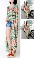 Casual Women Multi-Color Dip Dye Floral Shirred Waist Chiffon Long Cardigan Shirt Blouse Maxi Dress 3 Sizes 13864
