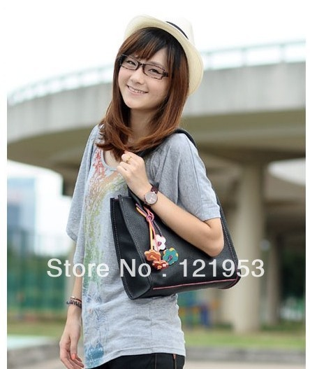 Free shipping wild flower female bag vertical bag lading shoulder bag fashion lady PU bag 25 kinds of color(China (Mainland))