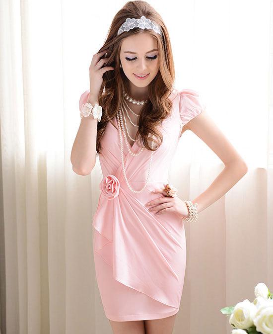 High quality Pink tight Flowers fold lady temperament Puff Sleeve Dress Women(China (Mainland))