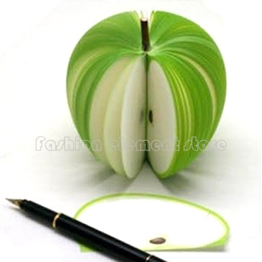 (Min Order $10) 3PC 3D Lovely Fruit Green Apple Design Memo Notepad 140 Pages Cute Gift Idea Free Shipping(China (Mainland))