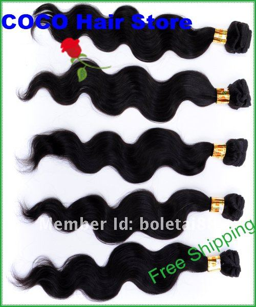 European Virgin hair,Body wave 16&quot;-32&quot;,Natural Black #1b,Free Shipping,1 lot=3pcs(Hong Kong)
